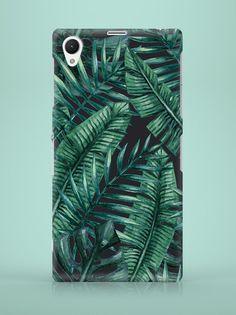 Sony Xperia Case - Dark Palm Leaves - ZO-HAN - Obudowy do telefonów Sony Xperia, Palm, Leaves, Phone Cases, Etsy, Hand Prints, Phone Case