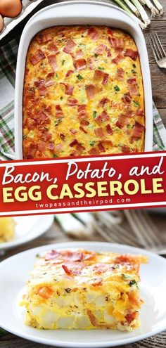 Want to make your breakfast time extra special? Bacon, Potato, and Egg Casserole is the perfect meal for you! This tasty breakfast ideas is so easy and can be made ahead of time. Its the perfect egg casserole for serving big crowds! include this on your breakfast food list!