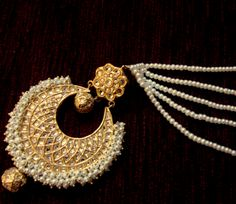 Gorgeous hand crafted kundan and pearls chand bala earrings with pearl saharas