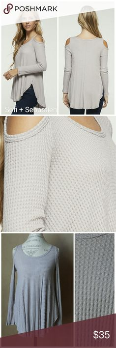 Waffle knit cold shoulder top light grey new Sorry, NO TRADES  Price firm unless bundled   Save money and bundle! Save 10 percent on any bundle of 2 or more items! Sofi + Sebastien  Tops