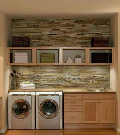 Organized laundry with brick backsplash.love the brick backsplash. It would make doing laundry a lot more enjoyable! Plus who doesn't love a sink in your laundry room? Farmhouse Laundry Room, Laundry In Bathroom, Laundry Rooms, Small Laundry, Basement Laundry, Laundry Area, Bathroom Plumbing, Laundry Decor, Basement Bathroom