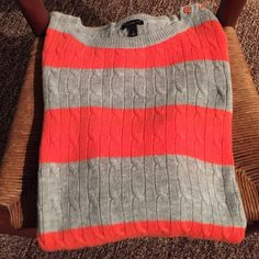 Coral and gray sweater never worn!  Beautiful Accented w 4 vocal and gold buttons on left shoulder... Perfect condition received as gift Talbots Sweaters