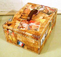 Caixa em MDF, revestida com filtro de café reciclado. Peça linda e multiuso.