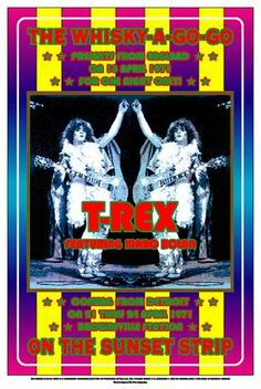 T-Rex Posters - Marc Bolan - Dennis Loren Commemorative Concert Poster Pop Posters, Band Posters, Music Posters, Event Posters, Whiskey A Go Go, Rock And Roll Fantasy, Concert Flyer, Pop Rock, Frames For Canvas Paintings