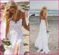 Wholesale Mermaid Wedding Dresses - Buy 2014 New Chic Spaghtti Straps V Neck Boho White Lace Beach Low Back Wedding Dresses Bridal Gowns Chiffon Robe De Mariage BO4476, $258.62 | DHgate
