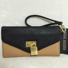 "Selling this ""STEVE MADDEN Camel/Black Colorblock Padlock Wallet"" in my Poshmark closet! My username is: mtnoonan. #shopmycloset #poshmark #fashion #shopping #style #forsale #Steve Madden #Clutches & Wallets"