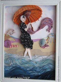 Картина панно рисунок Квиллинг На пляже Бумага Бумажные полосы фото 1
