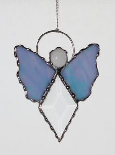 Stained Glass Suncatcher - Angel, Clear Glass Bevel with Blue Wings, Ornament