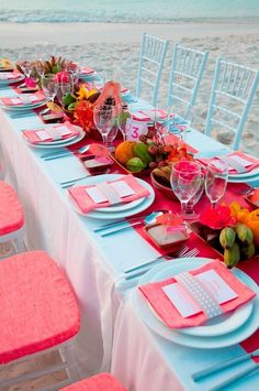 Turquoise and coral wedding, 2014 Coral beach wedding table decor