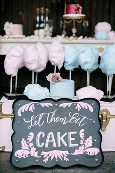 At a Marie Antoinette themed wedding, pastel blue and pink cotton candy fills a dessert table ~ http://www.weddingchicks.com/2016/04/18/modern-glam-marie-antoinette-wedding-ideas/