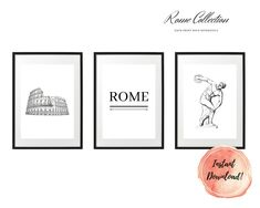 ART PRINT   City Collection   Art Print Sets   Digital Download or Physical Print   B&W, Rome   Wall Art   Home Décor White Art, Black And White, Rome City, Group Art, Decoration, Digital Art, Gallery Wall, Collections, Art Prints