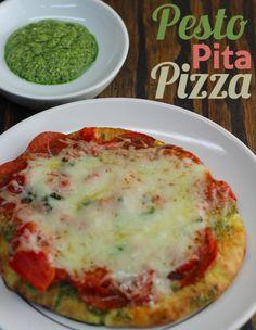 Super simple Pesto Pita Pizza!  You can make it in 5 minutes!