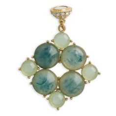 """Blue Swirl Bead Accent (gold) – Single Pendant: Deep ocean blue swirls delicately inside sea foam green opaque resin beads. The gold setting gives this piece extra luxury. Wear with a Single Pendant Base. 1 ½"""" wide by 1 ½"""" tall. $25.00"""