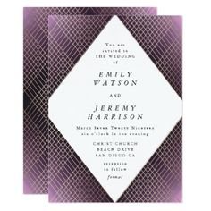 Shop Diamond Geometric Purple Deco Gold Gatsby Wedding Invitation created by PhrosneRasDesign. Personalize it with photos & text or purchase as is! Art Deco Wedding Invitations, Personalised Wedding Invitations, Gold Invitations, Personalized Wedding, Wedding Stationery, Gold Band Engagement Rings, Gatsby Wedding, Art Deco Jewelry, Diamond