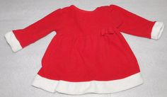 Carters Child of Mine Baby Girls Red Fleece Christmas Santa Dress 6-9 Months #ChildofMine #CasualFormalParty