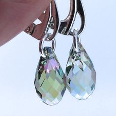 Sterling Silver Earrings with Light Green Swarovski Crystal Drops £21.00