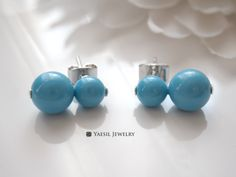 Double Pearl Earrings in Turquoise, Snowman Earrings, Personalized Earrings, Sterling Silver Post, Quality Pearls by YaesilJewelry on Etsy Double Pearl Earrings, Stud Earrings, Snowman, Turquoise, Pearls, Sterling Silver, Trending Outfits, Unique Jewelry, Handmade Gifts