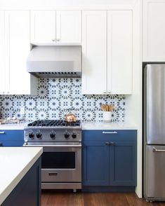 These Mexican-Inspired Tile Backsplash Ideas Are the Antidote to Snooze-Worthy K. These Mexican-Inspired Tile Backsplash Ideas Are the Antidote to Snooze-Worthy Kitchens Blue and w Moroccan Tiles Kitchen, Moroccan Tile Backsplash, Modern Kitchen Backsplash, White Tile Backsplash, Blue Kitchen Cabinets, Kitchen Cabinet Design, Backsplash Ideas, White Cabinets, Blue Kitchen Tiles
