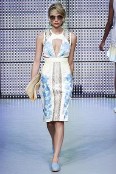 Holly Fulton: basic sloper with strategic cut outs in soft pastel prints. Shape and color trend WGSN