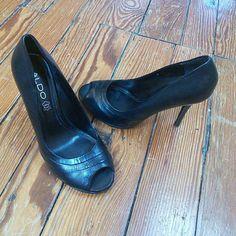Black Aldo heels Aldo peep toe high heels worn once to a wedding. Offers welcome! ALDO Shoes Heels