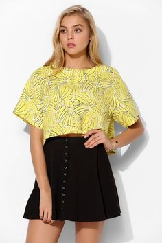 Urban Outfitters Lazy Twins Banana Cropped Top
