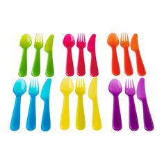 IKEA - KALAS, Ménagère 18 pièces, , Idéal pour les repas du quotidien comme pour les fêtes. Le plastique résistant passe au lave-vaisselle et au micro-ondes.Lame dentelée.Ergonomiques et faciles à utiliser par les enfants.