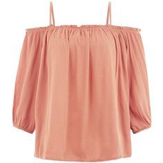 New Look Coral Ruffle Trim Cold Shoulder Top ($11) ❤ liked on Polyvore featuring tops, shirts, blouses, coral, red shirt, flutter-sleeve top, 3/4 sleeve shirts, three quarter sleeve shirts and ruffle top