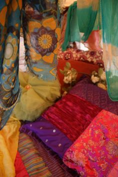Colourfull retro scarfs mixed with bright colours