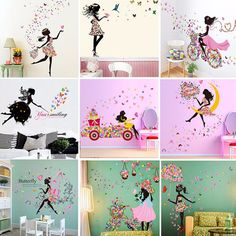 Girl & Flower Removable Wall Art Sticker Vinyl Decal Diy Room Home Mural Decor