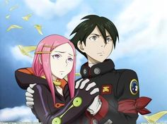 Anemone with Dominic (Dominique) I just love Anemone's suit. There needs to be more cosplays of her in it. Eureka Seven. L Anime, Anime Art, J Pop Bands, Graphic Artwork, Avatar The Last Airbender, Awesome Anime, Anime Couples, Anime Characters, Comic Art