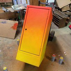 Work In Progress :: 4 Color Fade. Cabinet UpCycle by @humphreyindustries ---> #PlutoniumPaint #PlutoniumPaintCans #SprayPaint #UltraSupreme #MadeInTheUSA #FastDry #EcoFriendly #Spray360 #DIY #DoItYourself #Crafts #Crafty #WIP #StayTuned....