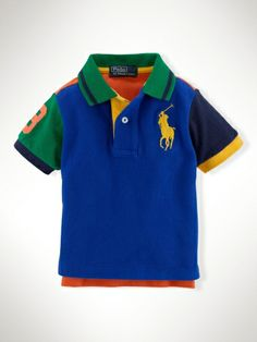This bold cotton mesh polo shirt features a color-blocked design and our signature Big Pony embroidery.