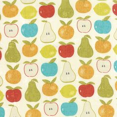 Moda - Garden Project by Tim and Beck Mixed Fruit 39551-11 in Cloud by the Yard by SewPerfectlyVintage on Etsy