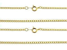 YELLOW GOLD PLATED NEW US CURB CHAIN 18 inches