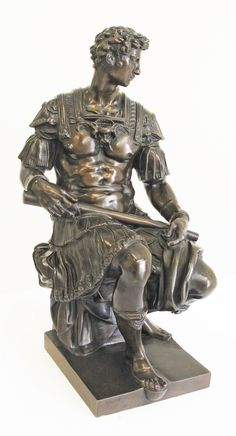 French School after Michelangelo (1475-1564). Reduction after the original which is a central sculpture above the Medici tombs in the Medici chapel, in the church of St. Lorenzo in Florence. Giuliano de Medici. Bronze sculpture with dark brown patination, H40cm, W22cm, D25cm. Stamped with the reduction seal of Achille Collas Brevete and F. Barbedienne foundry, Paris.