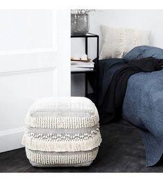 Housedoctor Poef Life zwart wit katoen 40x40x40cm - wonenmetlef.nl