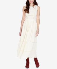 Lucky Brand Embroidered Crochet-Lace Maxi Dress $170 in S, closed back