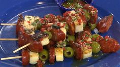 Hit the road! Whip up these easy (and packable)  chorizo/Haluma cheese/olive & peppert skewers
