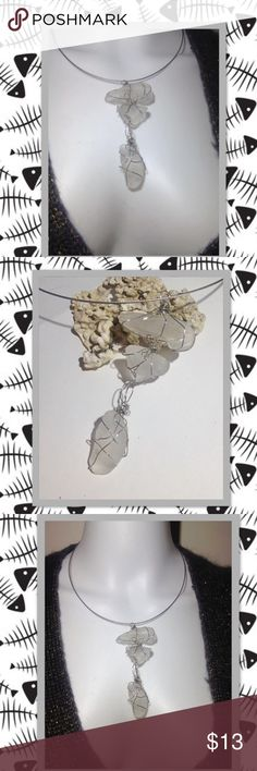 """""""The Fish Bone"""" Wire Wrapped Sea Glass Necklace """"The Fish Bone"""" Wire Wrapped Clear Sea Glass Necklace w screw clasp! GORGEOUS Statement necklace! Perfect Christmas gift idea! Gift wrapping available upon request ! prettyinlove Jewelry Necklaces"""