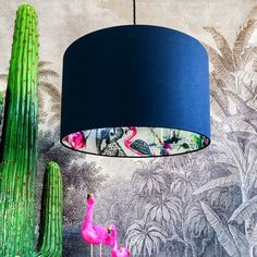Buy Silhouette Cotton Lampshade - Grey Chimiracle in Deep Space Navy from our Pendant Lights range at Red Candy, home of quirky decor. Free Fabric Samples, Free Fabric Swatches, Lamp Shades, Light Shades, Neon Rose, Jungle Pattern, Animal Collective, Quirky Decor, Energy Saver