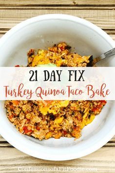 This 21 Day Fix Turkey Quinoa Taco Bake is a family comfort food favorite, hidden veggies and all. Perfect for when you have extra zucchini laying around or in your garden! Fixate Recipes, Cookbook Recipes, Healthy Dinner Recipes, Mexican Food Recipes, Cooking Recipes, 21 Day Fix Quinoa Recipes, Fixate Cookbook, Fast Recipes, Healthy Dinners