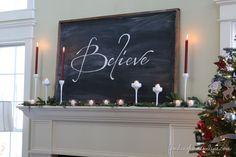 Christmas Mantel & Easy Chalkboard tutorial - Finding Home