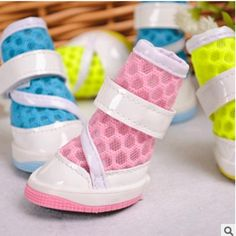 4Pcs/set Pets color mesh slip new Pet has good color breathable mesh shoes wholesale pet dog Chatedi slip shoes sandals