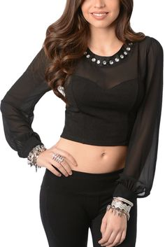 147c3bacda Black Sexy Sheer Jeweled Long Sleeve Crop Top