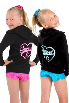 Glitter Gymnast Heart Black Zip Up Jersey Hoodie