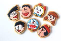 DORAEMON characters icing cookies. ドラえもん登場人物アイシングクッキー