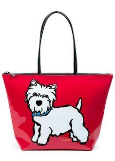 westie (west highland white terrier) - Westie Vinyl Zippered Tote Bag by Marc Tetro