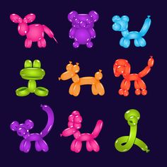 Animal-shaped balloons set Graphics Original elements to create your own design.Zip contains: PSD / PNG / PDF/ JPEG / AI / ho by TopVectors Easy Balloon Animals, Ballon Animals, Balloon Dog, Animal Balloons, Unicorn Balloon, Balloon Crafts, Balloon Decorations, Sculpture Ballon, Balloon Modelling