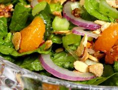 Mandarin Salad: One of my favorite go-to salad recipes. I half the recipe and it still makes enough for a small crowd. I buy honey-roasted slivered almonds instead of sugaring my own. I'm lazy.