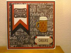 """Craftwork cards - this is a card for a dear male friend. 8"""" x 8"""" white card base, black and red mat and layer, top sheet is from CRAFTWORK CARDS - MAN MADE collection, this set is an absolute god send for those males in your life, adding a banner with  sentiment from same collection, another tag sentiment from same pad finished with a beer tankard with glossy accents to add some interest."""